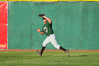Augusta GreenJackets right fielder Tyler Horan (39) catches a fly ball for the final out of the game against the Hickory Crawdads at L.P. Frans Stadium on May 11, 2014 in Hickory, North Carolina.  The GreenJackets defeated the Crawdads 9-4.  (Brian Westerholt/Four Seam Images)