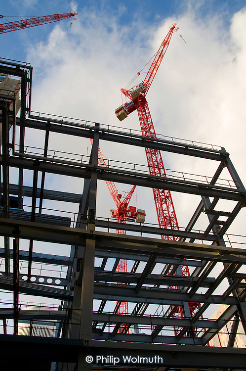 Steelwork and cranes on the site of a new office development by British Land PLC in the City of London.
