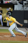 Siena Saints outfielder John Rooney (4) during the season opening game against the Central Florida Knights at Jay Bergman Field on February 14, 2014 in Orlando, Florida.  UCF defeated Siena 8-1.  (Copyright Mike Janes Photography)