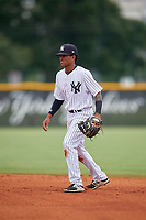 GCL Yankees East second baseman Miguel Marte (1) during a Gulf Coast League game against the GCL Phillies West on July 26, 2019 at the New York Yankees Minor League Complex in Tampa, Florida.  (Mike Janes/Four Seam Images)