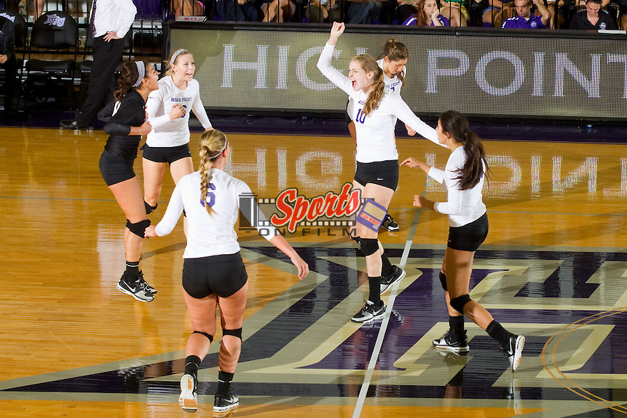 Savannah Angel (10) of the High Point Panthers reacts after the Panthers scored a point against the VCU Rams at Millis Athletic Center on September 17, 2013 in High Point, North Carolina.  The Rams defeated the Panthers 3-0.   (Brian Westerholt/Sports On Film)