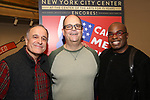 "Adam Heller, Brad Oscar and Stanley Wayne Mathis attends the closing Night performance reception for Encores! ""Call Me Madam"" at City Center on February 10, 2019 in New York City."