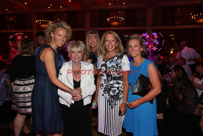 Celebrity Cup Gala Dinner<br /> L-R: Jane Cleverly, Gloria Hunniford, Tina Collins, Jane Smith, Rachel Mackie. <br /> Celtic Manor Resort<br /> 05.07.14<br /> &copy;Steve Pope-SPORTINGWALES