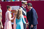(L to R) Queen Letizia of Spain, King Felipe VI Queen Letizia of Spain,  Princess of Asturias Leonor, Infanta Sofia and President Pedro Sanchez during the Military parade because of the Spanish National Holiday. October 12, 2019.. (ALTERPHOTOS/ Francis Gonzalez)