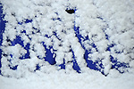 Blue snow shovel with snow pattern and design.