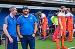 Den Bosch  - bondscoach Max Caldas (Ned)  met assistent Ronald Brouwer ,   voor   de Pro League hockeywedstrijd heren, Nederland-Belgie (4-3).    COPYRIGHT KOEN SUYK