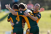 The Wyong Roos celebrate after scoring a try during Round 5 against the Cronulla Sharks of the 2013 NSW Cup at Morrie Breen Oval on April 7, 2013 in Wyong, Australia. (Photo by Paul Barkley/LookPro)