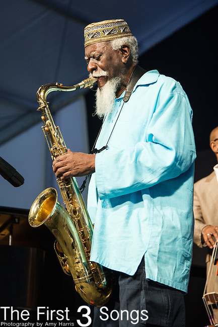 Pharoah Sanders performs during the New Orleans Jazz & Heritage Festival in New Orleans, LA.