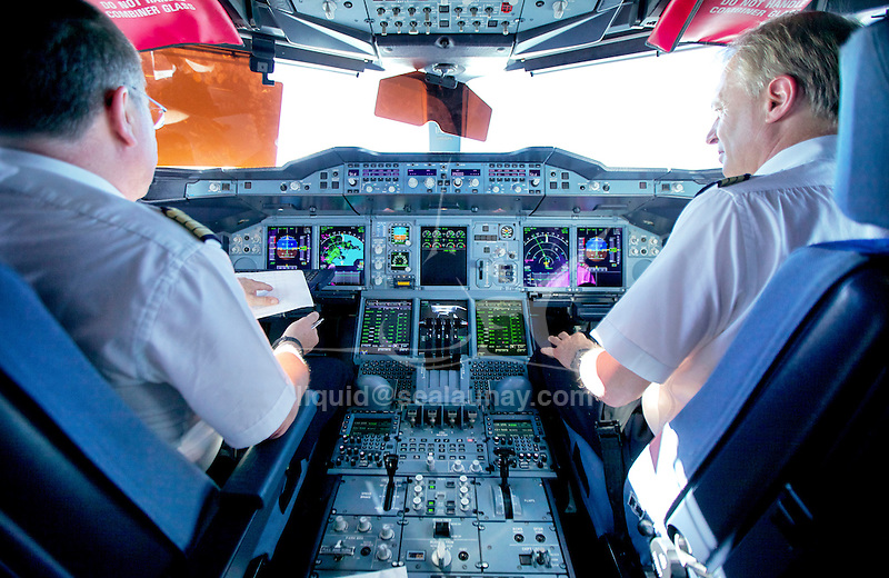 Inside the Cockpit of the A380 While 35,000 Feet Over the Northern Atlantic Ocean during the flight Air France AF0065 Los Angeles - Paris.