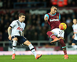 West Ham's Dimitri Payet tussles with Tottenham's Kieran Trippier<br /> <br /> - English Premier League - West Ham Utd vs Tottenham  Hotspur - Upton Park Stadium - London - England - 2nd March 2016 - Pic David Klein/Sportimage
