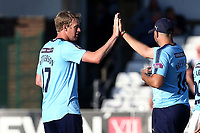 Steven Patterson of Yorkshire celebrates taking the wicket of Ravi Bopara during Essex Eagles vs Yorkshire Vikings, Royal London One-Day Cup Play-Off Cricket at The Cloudfm County Ground on 14th June 2018