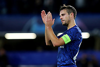 Chelsea's Cesar Azpilicueta applauds the home fans at the final whistle during Chelsea vs AFC Ajax, UEFA Champions League Football at Stamford Bridge on 5th November 2019