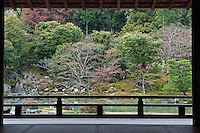 A view of the tree-filled lakeshore at Tenryu-ji Temple
