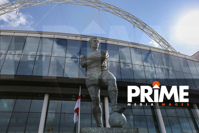 General view of the Bobby Morre statue outside Wembley stadium, home of the England National Team, ahead of the FA Cup Semi-Final match between Everton and Manchester United at Wembley Stadium, London, England on 23 April 2016. Photo by David Horn / PRiME Media Images.