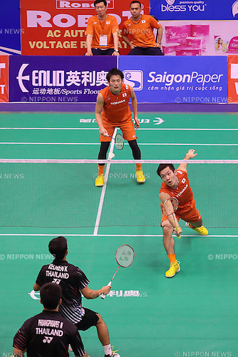 Park Joo Bong,   Rionny Mainaky, Takeshi Kamura &amp; Keigo Sonoda (JPN),<br /> FEBRUARY 16, 2017 - Badminton :<br /> ROBOT Badminton Asia Mixed Team Championships 2017 Group C match between Japan 2-3 THailand, Order 1 Men's Doubles at Nguyen Du Cultural Sports Club in Ho Chi Minh City, Vietnam. (Photo by Yan Lerval/AFLO)