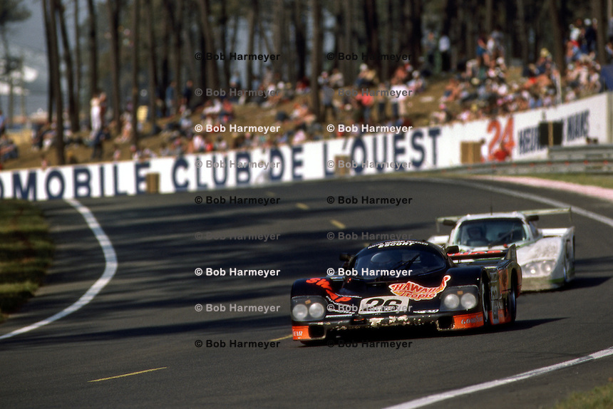 LE MANS, FRANCE - JUNE 17: Jean Rondeau drives the Henn's T-Bird Swap Shop Porsche 956 103 during the 24 Hours of Le Mans FIA World Sports Car Championship race at the Circuit de la Sarthe in Le Mans, France, on June 17, 1984.