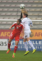 20190409  - Tubize , BELGIUM : Swiss Chiara Messerli (L) and Finland's Filippa Kilponen (R) pictured during the soccer match between the women under 19 teams of Switzerland and Finland , on the third matchday in group 2 of the UEFA Women Under19 Elite rounds in Tubize , Belgium. Tuesday 9 th April 2019 . PHOTO DIRK VUYLSTEKE / Sportpix.be