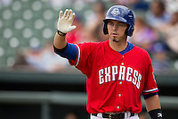 Round Rock Express catcher Eli Whiteside #18 during the game against the Omaha Storm Chasers in the Pacific Coast League baseball game on April 7, 2013 at the Dell Diamond in Round Rock, Texas. Omaha beat Round Rock 5-2, handing the Express their first loss of the season. (Andrew Woolley/Four Seam Images).