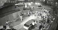 Pictured: CCTV screengrab showing the moment a fight breaks out before the Ford C-Max car driver by McCauley Cox ran over the two women on Cambrian Road, Newport, Wales, UK<br /> Re: McCauley Cox from Newport has been sentenced after being found guilty of using his car as a weapon to run over two people after a night out in Newport, Wales, UK