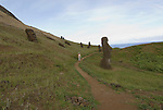 Chile, Easter Island: Sculptures at the quarry Rano Raraku where all the large sculptures were carved..Photo #: ch253-33811.Photo copyright Lee Foster www.fostertravel.com lee@fostertravel.com 510-549-2202