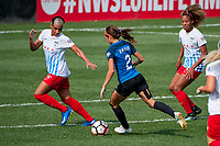 Kansas City, MO - Saturday September 9, 2017: Samantha Johnson, Shea Groom, Casey Short during a regular season National Women's Soccer League (NWSL) match between FC Kansas City and the Chicago Red Stars at Children's Mercy Victory Field.