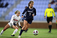 CHAPEL HILL, NC - NOVEMBER 16: Julia Dorsey #7 of the University of North Carolina turns with the ball during a game between Belmont and North Carolina at UNC Soccer and Lacrosse Stadium on November 16, 2019 in Chapel Hill, North Carolina.