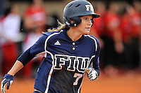 11 February 2012:  FIU's Kayla Burri (7) runs to first as the University of Louisville Cardinals defeated the FIU Golden Panthers, 4-2, as part of the COMBAT Classic at the FIU Softball Complex in Miami, Florida.