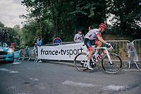 Tom Skujins (LAT/Trek Segafredo) 500 meters from the finish<br /> <br /> Stage 5: Lorient &gt; Quimper (203km)<br /> <br /> 105th Tour de France 2018<br /> &copy;kramon