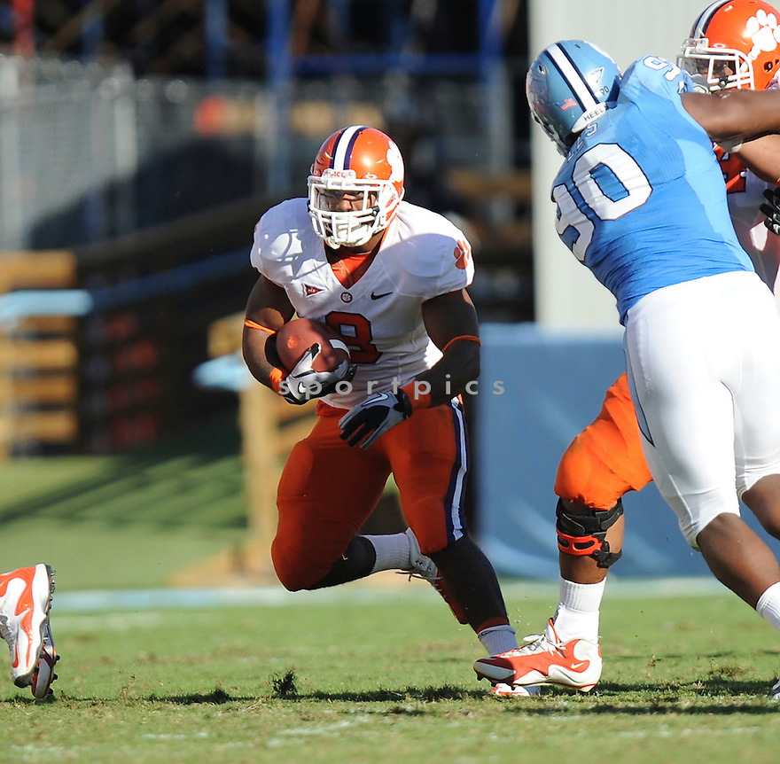 JAMIE HARPER, of the Clemson Tigers, in action during the Clemson Tigers game against the North Carolina Tarheels at Kenan Stadium on October 09, 2010  in Chapel Hill, NC..North Carolina 21 beats Clemson 16.