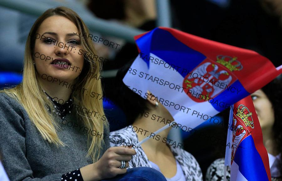 Davis Cup 2014 first round<br /> Srbija v Hrvatska<br /> Novak Djokovic and Nenad Zimonjic-Serbia v Franko Skugor and Marin Draganja doubles dublovi<br /> Serbia's fans supporters navijaci<br /> Kraljevo, 07.03.2015.<br /> Foto: Srdjan Stevanovic/Starsportphoto.com&copy;