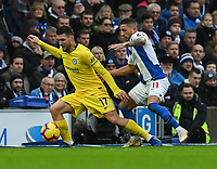 Brighton & Hove Albion's Anthony Knockaert (right) battles with Chelsea's Mateo Kovacic (left) <br /> <br /> Photographer David Horton/CameraSport<br /> <br /> The Premier League - Brighton and Hove Albion v Chelsea - Sunday 16th December 2018 - The Amex Stadium - Brighton<br /> <br /> World Copyright © 2018 CameraSport. All rights reserved. 43 Linden Ave. Countesthorpe. Leicester. England. LE8 5PG - Tel: +44 (0) 116 277 4147 - admin@camerasport.com - www.camerasport.com