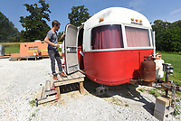 NWA Democrat-Gazette/FLIP PUTTHOFF <br /> A refurbished Airstream Argosy        June 21 2019       trailer is a lodging option for guests.