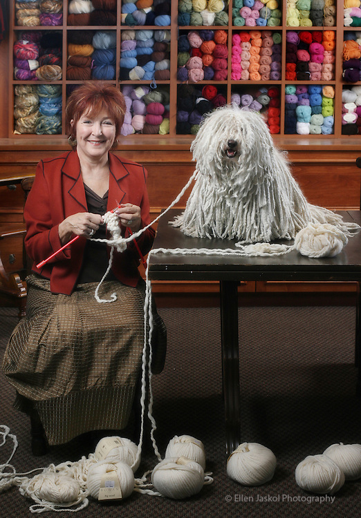Mary Carol Jehn and her dog, Andy, a Puli, in her yarn shop, The Lamb Shoppe, in Denver, Co.  With a little coaxing when Puli's are young, their coats stay in rope-like locks.   Andy is going to the Westminster dog show.  (ELLEN JASKOL/ROCKY MOUNTAIN NEWS)