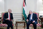 Palestinian President Mahmoud Abbas meets with Former Israel's Prime Minister Ehud Olmert in Paris, France, on September 21, 2018. Photo by Thaer Ganaim