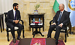 Acting Palestinian Prime Minister Rami Hamdallah meets with Saudi Prince Mansour Bin Musallam, President of the educational relief foundation, in the West Bank city of Ramallah, on March 11, 2019. Photo by Prime Minister Office