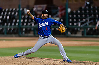 Rancho Cucamonga Quakes relief pitcher Jordan Sheffield (9) during a California League game against the Visalia Rawhide on April 8, 2019 in Visalia, California. Rancho Cucamonga defeated Visalia 4-1. (Zachary Lucy/Four Seam Images)