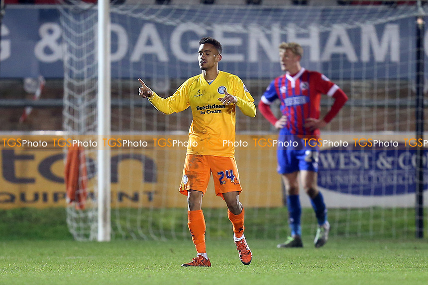 Paris Cowan-Hall of Wycombe Wanderers celebrates scoring the second Wanderers goal during Dagenham and Redbridge vs Wycombe Wanderers, Sky Bet League 2 Football at the Chigwell Construction Stadium