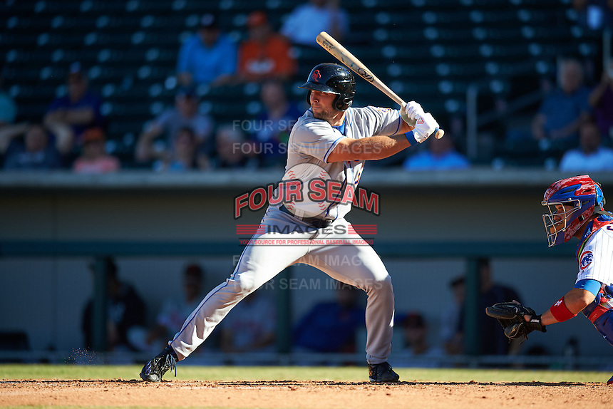 Scottsdale Scorpions designated hitter Tim Tebow (15), of the New York Mets organization, at bat in the eighth inning during a game against the Mesa Solar Sox on October 18, 2016 at Sloan Park in Mesa, Arizona.  Mesa defeated Scottsdale 6-3.  (Mike Janes/Four Seam Images)