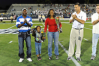 12 November 2011:  The family of slain FIU football player, Kendall Berry, who would have been a graduating senior, was honored with his former teammates during Senior Night.  The FIU Golden Panthers defeated the Florida Atlantic University Owls, 41-7, to win the annual Shula Bowl game, at FIU Stadium in Miami, Florida.