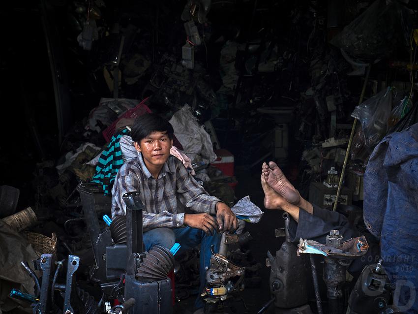 Workers in a Machine shop, Phnom Penh, Cambodia