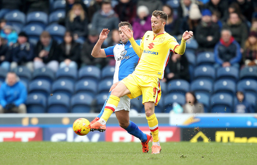 Blackburn Rovers Tommy Spurr battles with  Milton Keynes Dons Dean Bowditch<br /> <br /> Photographer Mick Walker/CameraSport<br /> <br /> Football - The Football League Sky Bet Championship - Blackburn Rovers v Milton Keynes Dons - Saturday 27th February 2016 - Ewood Park - Blackburn<br /> <br /> &copy; CameraSport - 43 Linden Ave. Countesthorpe. Leicester. England. LE8 5PG - Tel: +44 (0) 116 277 4147 - admin@camerasport.com - www.camerasport.com