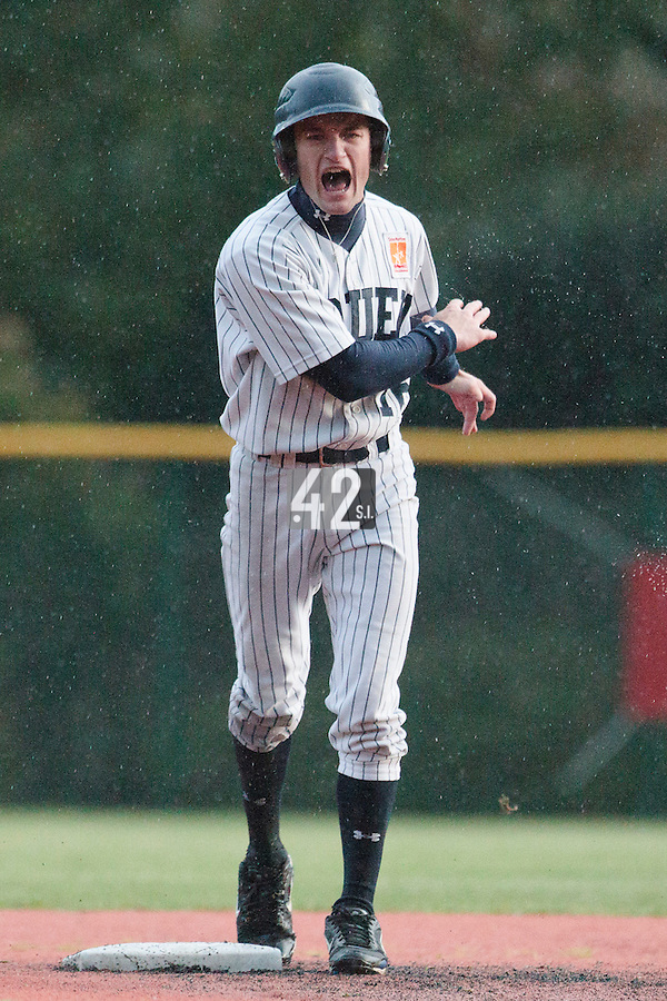 23 October 2010: Joris Bert of Rouen reacts after being tagged out during Savigny 8-7 win (in 12 innings) over Rouen, during game 3 of the French championship finals, in Rouen, France.