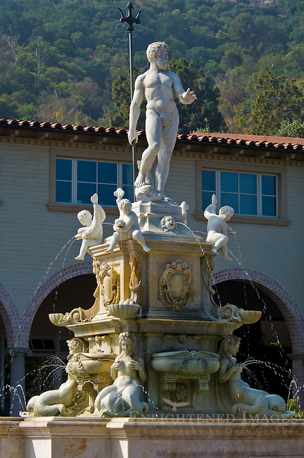 Classical greek statue of Poseidon on top of water fountain at Malaga Cove Plaza, Palos Verdes Peninsula, California