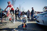 &quot;I'll escort you to the start daddy!&quot;<br /> Sander Arm&eacute;e (BEL/Lotto-Soudal) &amp; son off the the start podium together<br /> <br /> 3 Days of West-Flanders 2015<br /> stage 2: Nieuwpoort - Ichtegem 184km