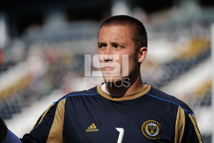 Philadelphia Union goalkeeper Chris Seitz (1). The Philadelphia Union defeated CD Chivas USA 3-0 during a Major League Soccer (MLS) match at PPL Park in Chester, PA, on September 25, 2010.