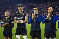 Bath Rugby players participate in a minute's applause in honour of the late Anthony Foley. European Rugby Challenge Cup match, between Bath Rugby and Bristol Rugby on October 20, 2016 at the Recreation Ground in Bath, England. Photo by: Patrick Khachfe / Onside Images