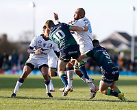 17th November 2019; The Sportsground, Galway, Connacht, Ireland; European Rugby Champions Cup, Connacht versus Montpellier; Jack Carty and Caolin Blade  (Connacht) stop Caleb Timu's (Montpellier) advances - Editorial Use
