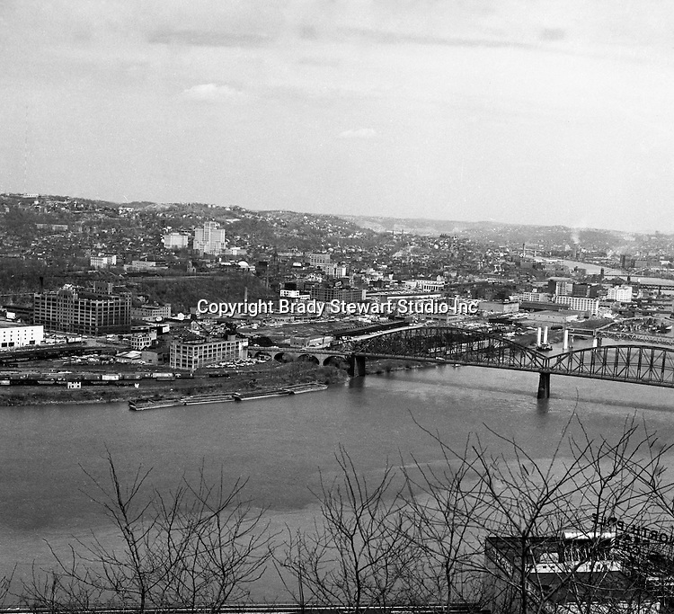 Pittsburgh PA:  View of the Northside from Mount Washington - 1962