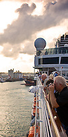 Passengers look off the port side of the ms Eurodam before launch towards the shore of Fort Lauderdale, Florida on Feb. 4, 2012