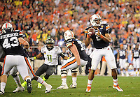 Jan 10, 2011; Glendale, AZ, USA; Auburn Tigers quarterback (2) Cameron Newton against the Oregon Ducks in the 2011 BCS National Championship game at University of Phoenix Stadium. Auburn defeated Oregon 22-19. Mandatory Credit: Mark J. Rebilas-